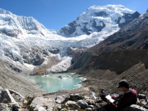 Mark Carey studies Palcacocha Lake, Peru (Source: SSRC)