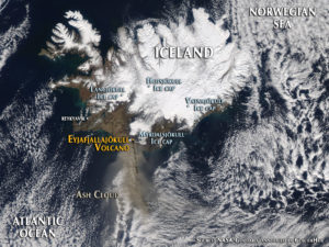 Satellite image of Iceland in 2010, during the Eyjafjallajökull eruption (Source: NASA Earth Observatory)
