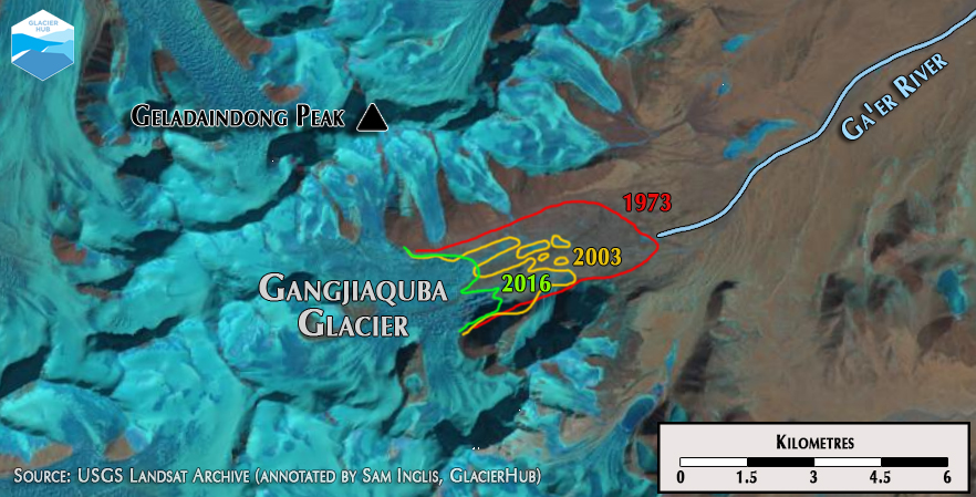 The Gangjiaquba Glacier, source of the Tongtian River (Source: USGS Landsat Archive)