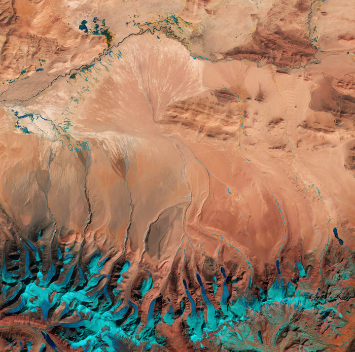 Tibetan Plateau taken from Sentinel-2A, released June 17, 2016 (Credit: ESA)