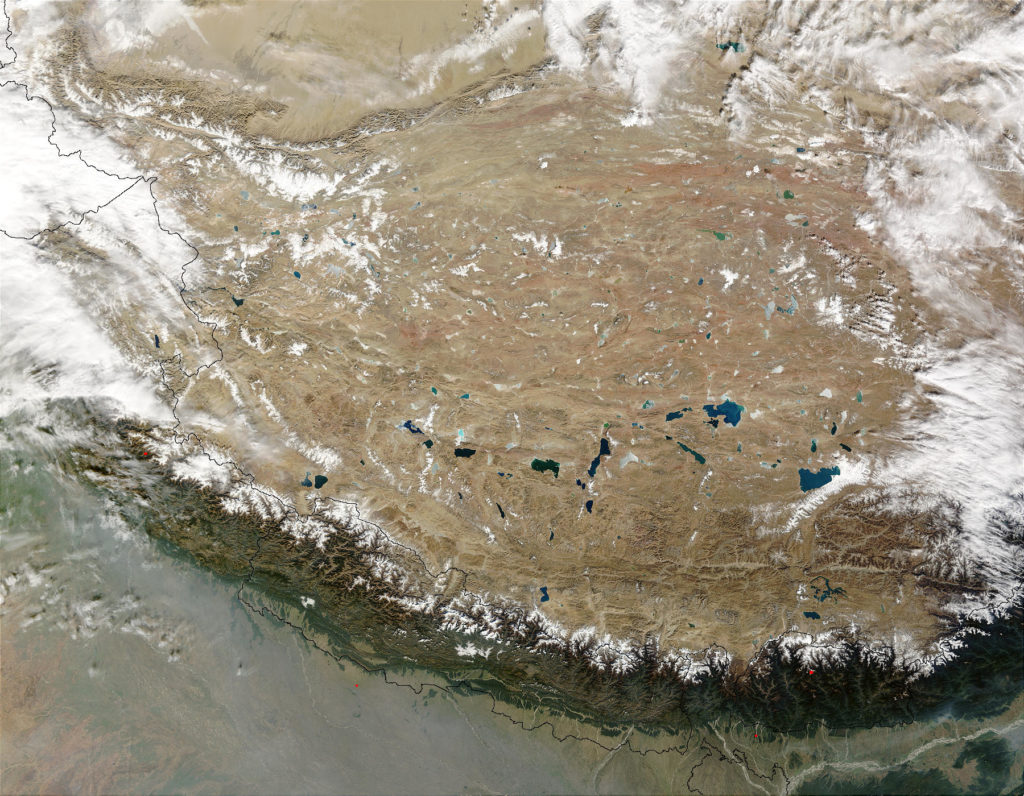 True-color photograph of Tibetan Plateau lakes (NASA--MODIS)
