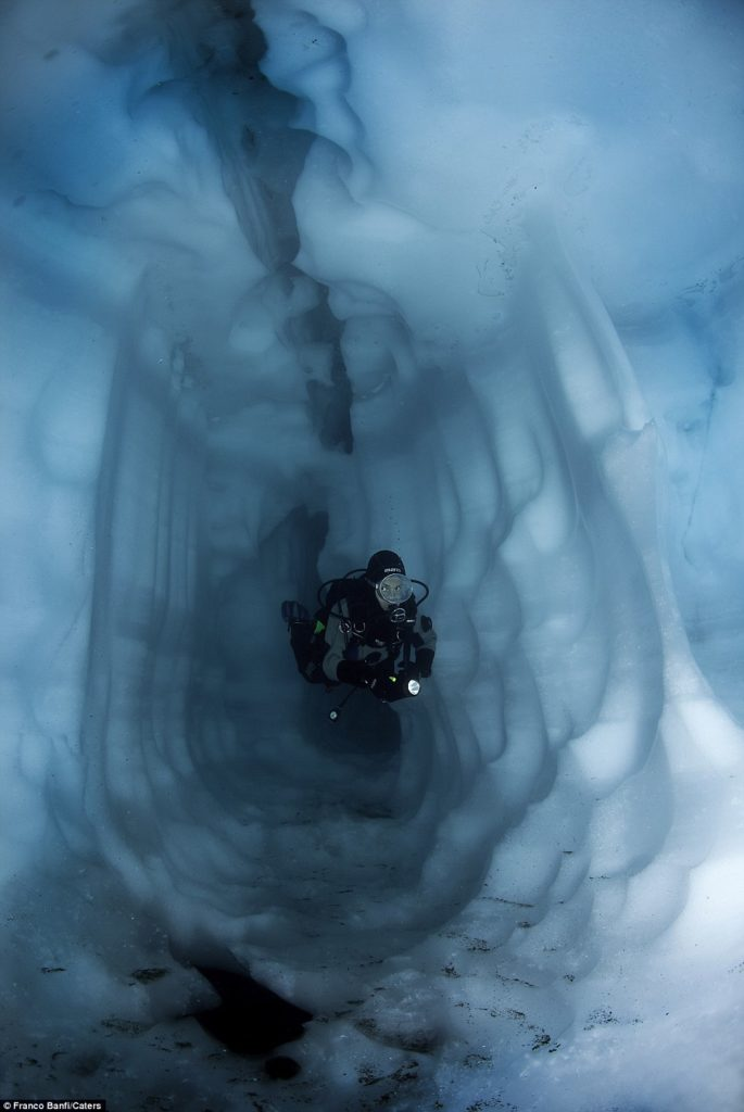 Banfi's diving partner, Sabrina, navigates an ice tunnel (Source: Franco Banfi)