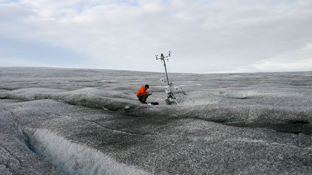 The ice surrounding this climate station is covered by dust, black carbon, ice algae