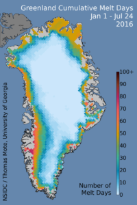 Greenland's cumulative melt days in 2016