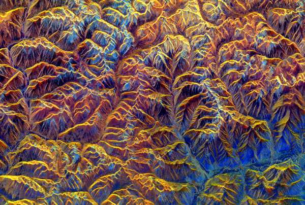 Spaceborne Radar image of Southeast Tibet, 1994 (NASA, JPL)