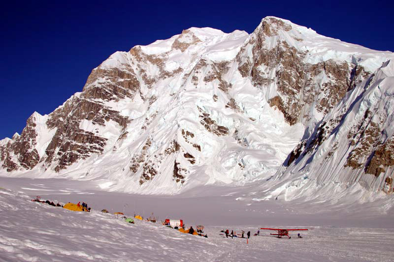 Base Camp: It's a 35 minute flight from Talkeetna in a ski equipped aircraft. Most climbers land at Base Camp on Kahiltna Glacier. (Alaska.org)