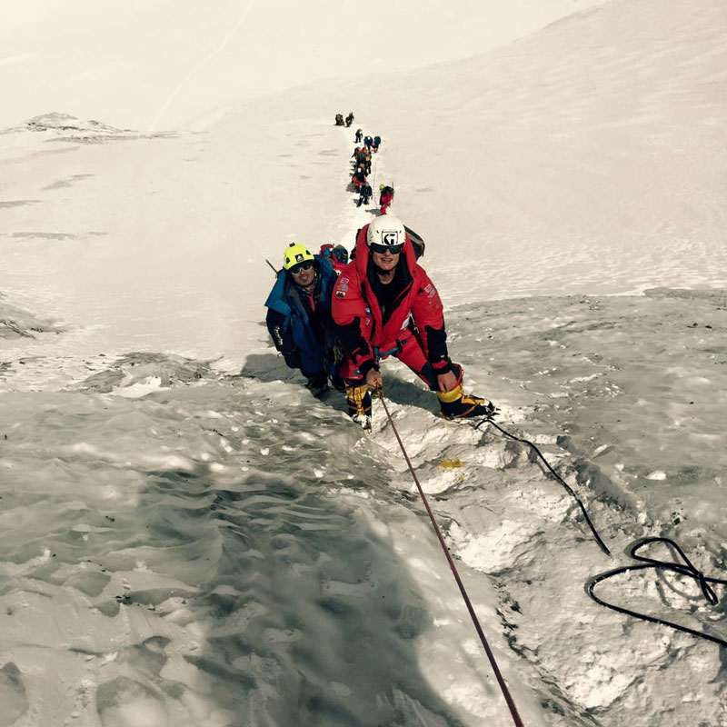 Climbers ascending the Lhotse face on Mt Everest. Photo credit: Garrett Madison
