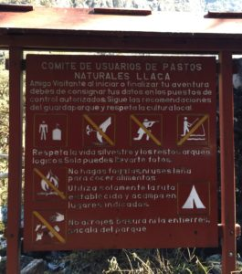 Sign at entrance to Huascaran National Park from pasture user's group, requesting protection of the environment and respect for culture (source: Ben Orlove)