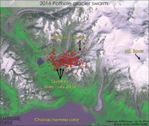 Hundreds of small seismic events have occurred in an area near Pothole Glacier. From the Alaska Earthquake Center