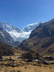 Upper Llaca valley, showing glacier (source: Ben Orlove)