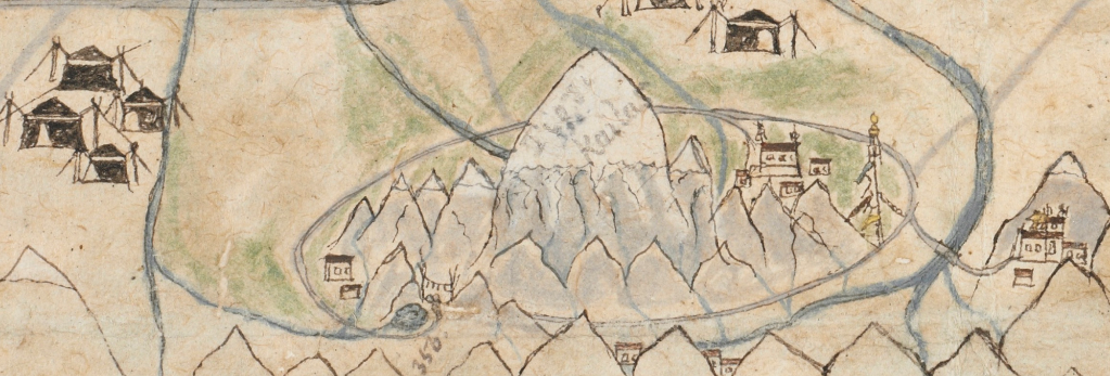 Detail of map in the Wise Collection at the British Library, showing Mt. Kailash and surroundings in great detail with the circumambulation path, monasteries, a lake, streams and a tall prayer flag pole