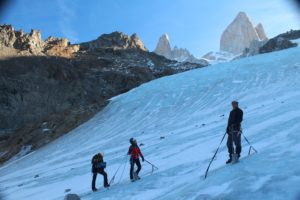 Collecting data for mass balance research, Los Tres Glacier, southern Patagonia (source:IANGILA)
