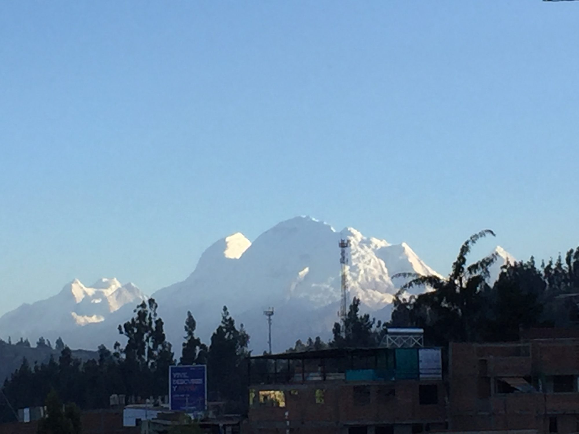 Huascaran with telecom tower in foreground