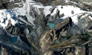 Vizcachani Glacier and Lake Japucocha (source: Google Earth)