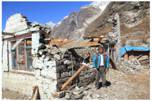 Lakchung Tamang, 61, with his home in Mundu, Langtang (3500m asl) destroyed by the April 2016 Nepal earthquake. He lost 12 immediate family members, son, daughter, son-in law, daughter-in-law and 5 grandchildren. (Source: Tsechu Dolma).