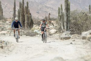 Athletes biking in the coastal desert portion of Andes Challenge (source: Facebook) https://scontent-iad3-1.xx.fbcdn.net/v/t1.0-9/14141539_1136067803116364_630030388729401205_n.jpg?oh=399a1b5fdfafc8321cc8014c62e0f2b2&oe=58378FEB