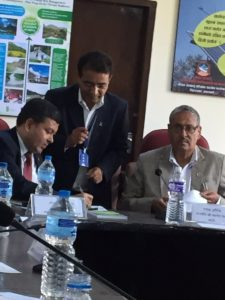 Minister and parliamentarians discussing climate change in Kathmandu (source: Batu Krishna Uprety/Twitter)
