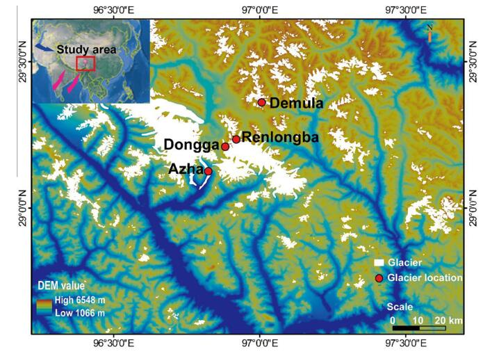Location map showing the sampling glaciers in the southeastern Tibetan Plateau. The red dots represent the location of the four investigated glaciers, and the size represents the average concentrations of Sb in the separate glacier.
