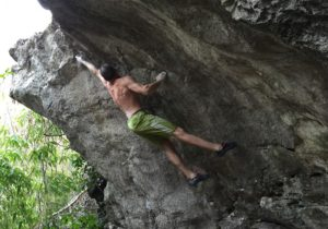 Volker Schoeffl climbing in Laos (source: Tanya Weidner/Green Climbers Home)