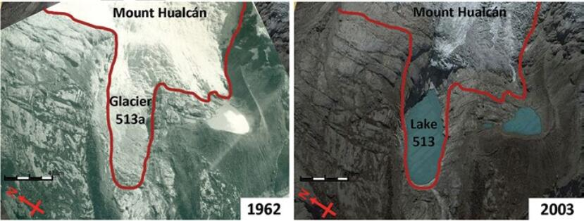 Evolution of the Lake 513 from 1962 to 2002 due to glacial retreat. Diagrams performed over aerial photographs from the National Aerial Photography Service Peru (left) and Google Earth (right) (Source: Randy Muñoz)