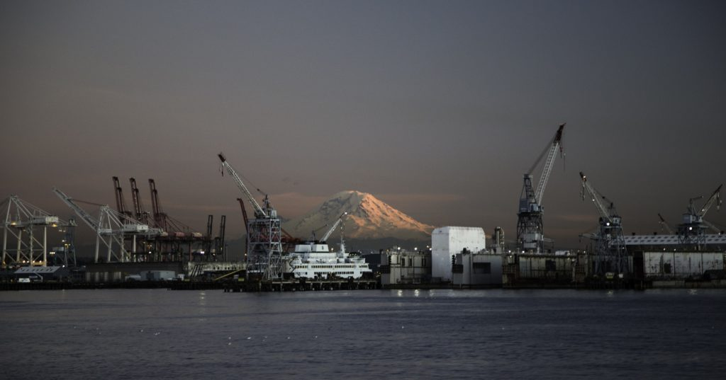 Rainier from Puget Sound (source: Tiffany von Arnim/Flickr)
