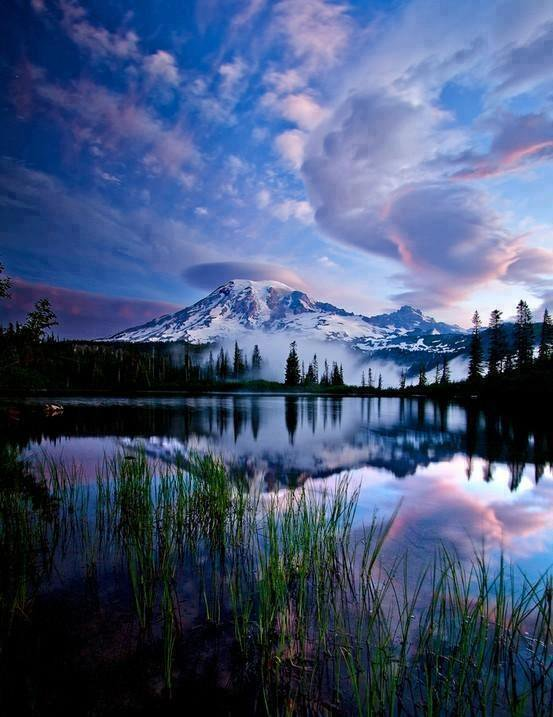 Rainier, reflected in a lake (source: Michael Green/Twitter)
