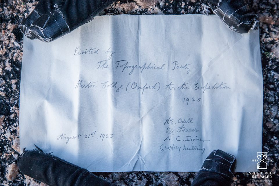 A note that the 1923 expedition team left in a thermometer case on the summit of Mt Chernishev (Liam Garrison/Spitsbergen Retraced)