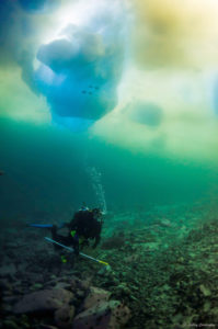 Divers assess seabed for ice scour damage (Source: Ashley Cordingley)