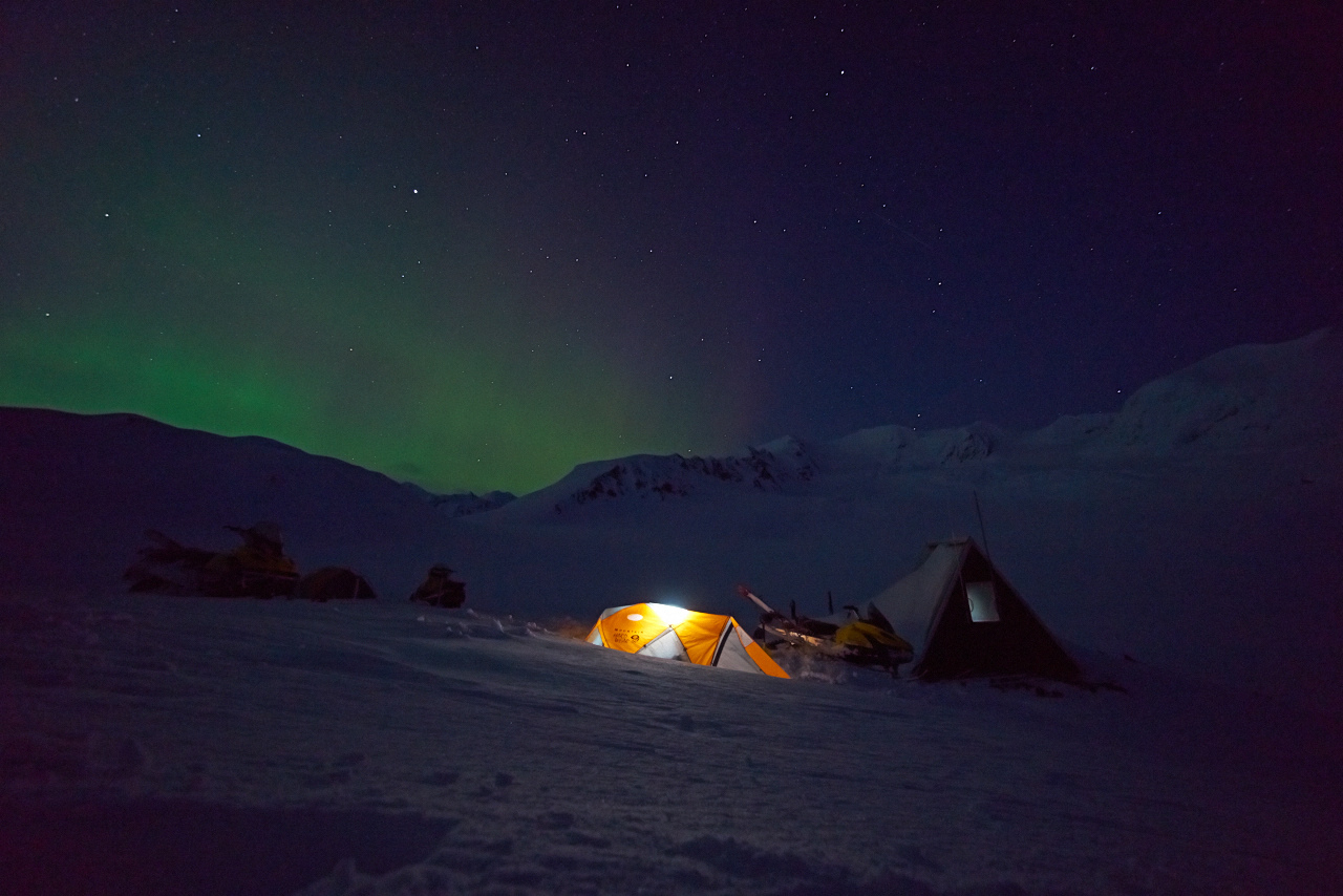 Northern lights over the researchers' cabin in 2014 (Source: USGS)