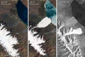 Satellites images of the twin avalanches (Source: NASA).