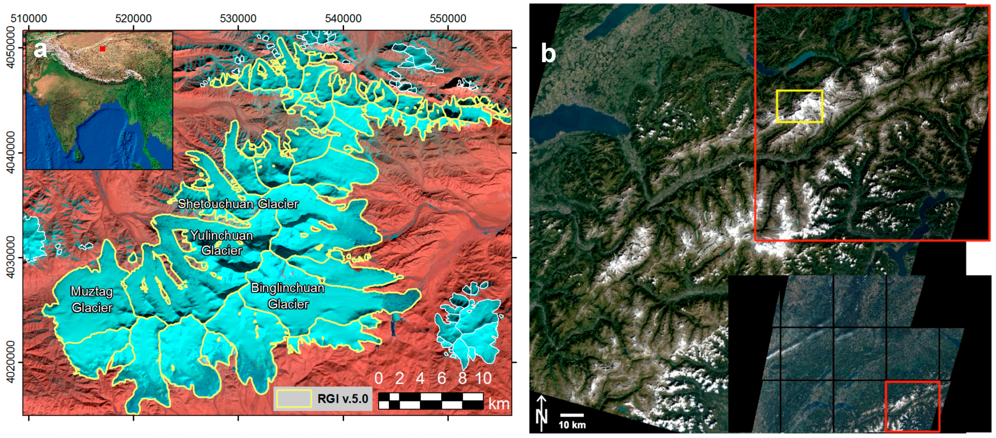 Test region 1 in the Kunlun Mountains in northern Tibet using a S2A image from 18 November 2015 (Source: Remote Sensing).