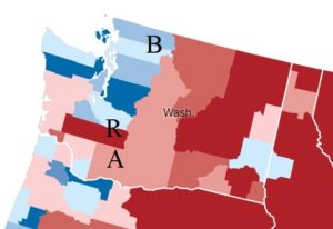 County-level results in the 2016 presidential election in Washington state source: New York Times)
