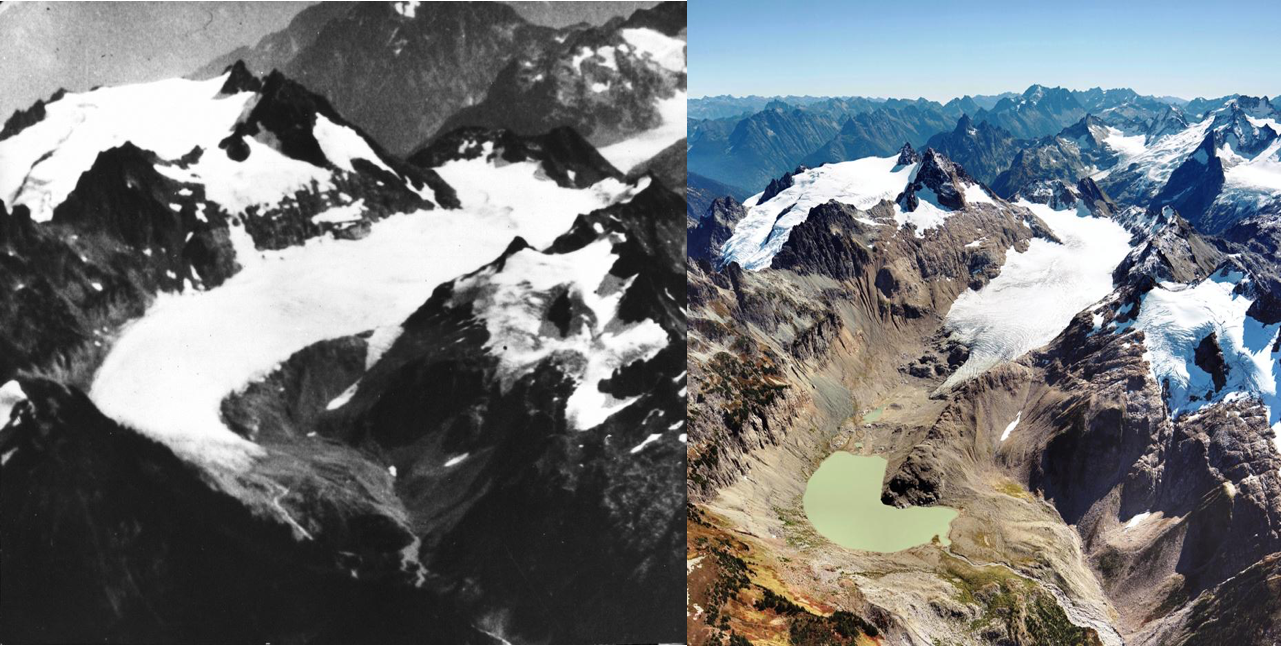 South Cascade Glacier as seen in 1928 (left) and 2006 (right) (Source: USGS)