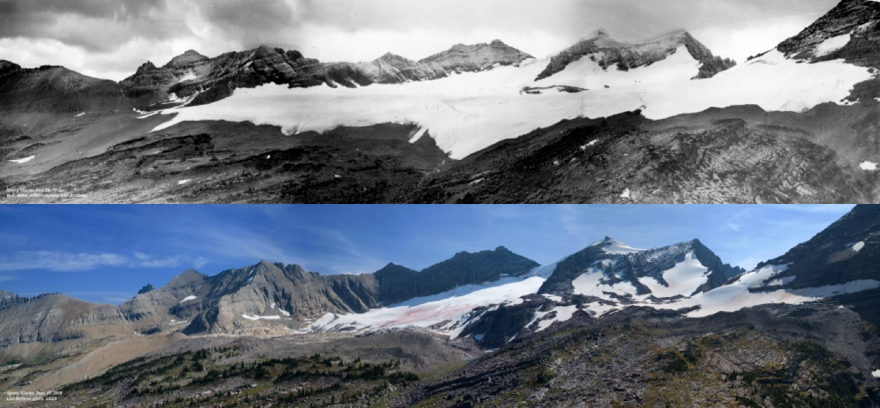 Sperry Glacier in 1913 (top) and 2008 (bottom) (Source: USGS)