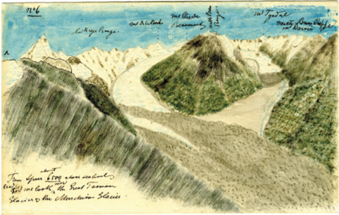 Julius Haast, 'From Spur about 6500 above sea level, leading to Mt Cook, over the Great Tasman Glacier & the Murchison Glacier.' (Source: Dr Albert Schedl Collection, Vienna).