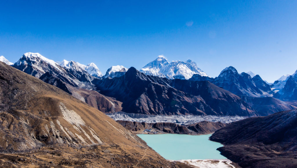 A glacial lake in the Himalayas, with glacial melt from the Ngozumpa glacier (Source: Doug Scobie/Creative Commons).