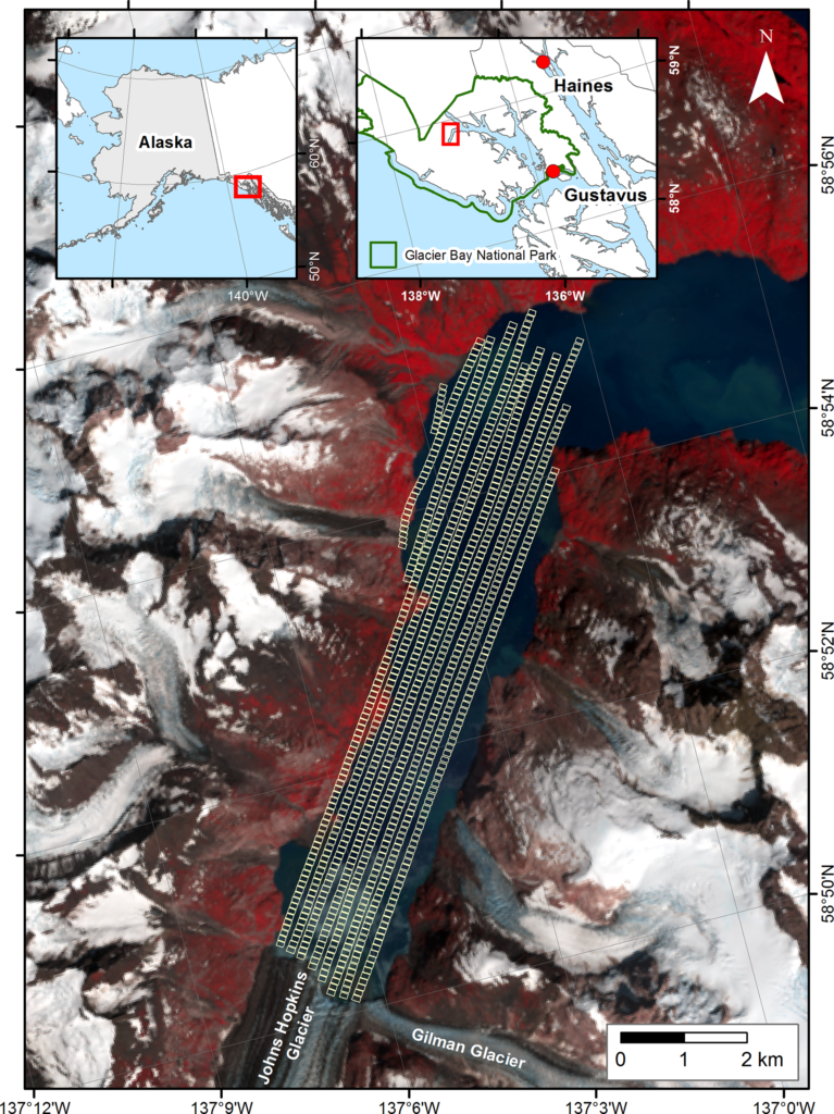 Map of Johns Hopkins Inlet study area (source: Quantification and Analysis of Icebergs in a Tidewater Glacier Fjord Using an Object-Based Approach).