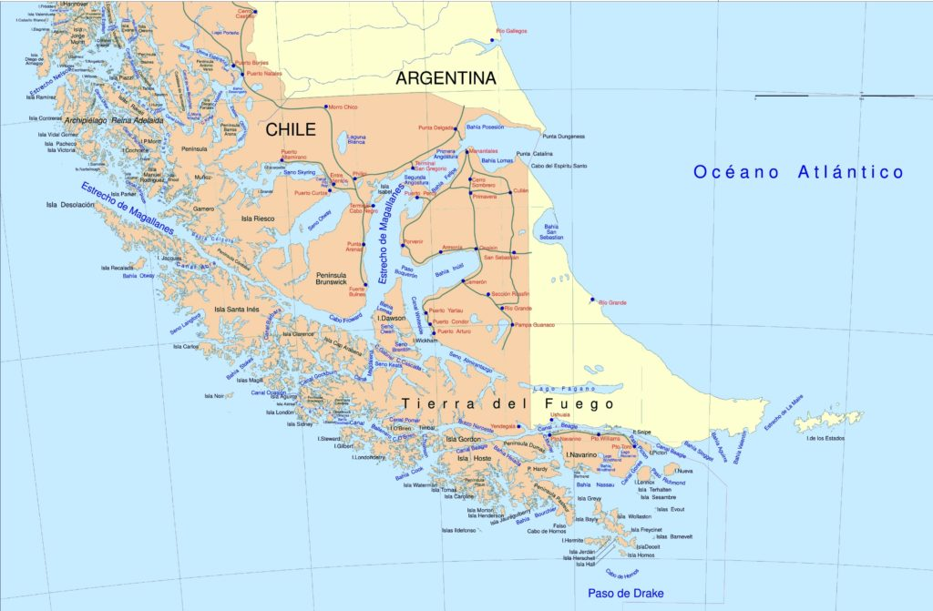 A map of the Strait of Magellan and the region where the study took place (Source: / Creative Commons).