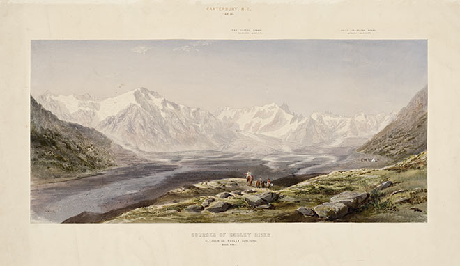 Painting of the Southern Alps from the Godley river bed, by John Gully, from a sketch by Johann Franz Julius von Haast (Source: the Alexander Turnbull Library)