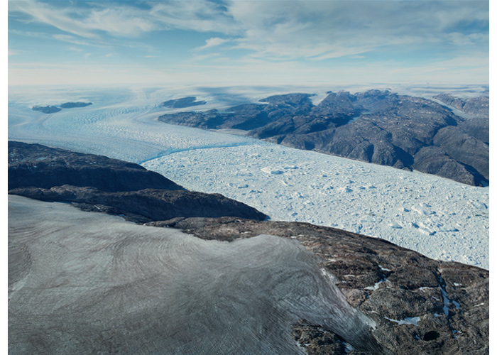 The Helheim glacier is connected to the Greenlandic icesheet and spans approx. 5.5 kilometers in width. Helheim, Greenland 2012 (source: Klaus Thymann/Project Pressure).