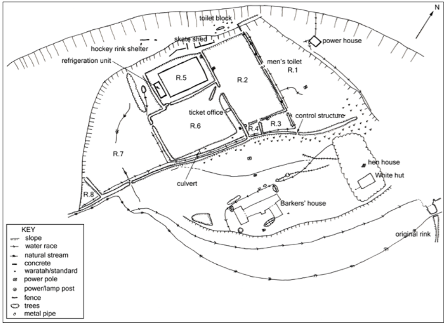 A map showing the remains of the ice rink and surrounding buildings (Source: Katharine Watson/Department of Conservation).