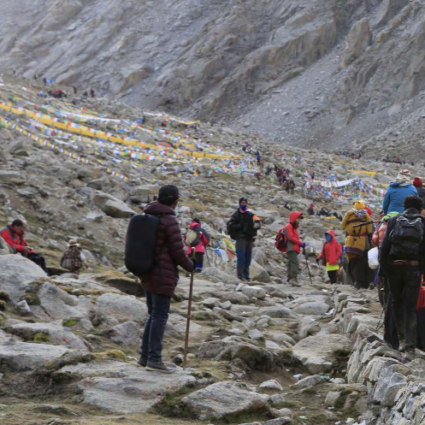 Pilgrims at Mount Kailash (Source: The Way to the Sacred Land).