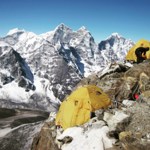 Securing tents on the high camp of Ama Dablam (Source: Satori Expeditions/Instagram).