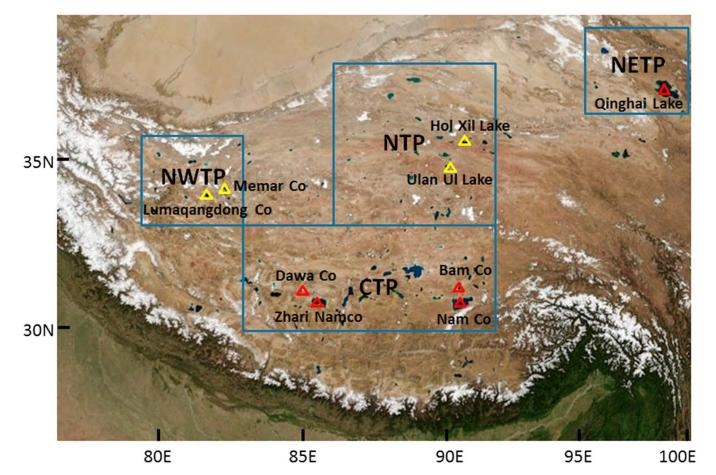 The location of the selected lakes in the NWTP, NTP, CTP, and NETP (source: Lei et al. / Wiley).