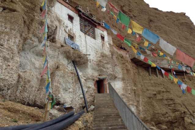 Stairs up to the cave temple above Guru Gyam (Source: Emily Yeh/University of Colorado).