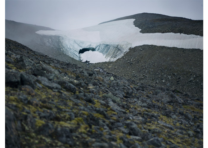 The Pallin Halvjökull is set within the artic circle in northern Sweden. Pallin Glacier Tunnel, 2013 (source: Klaus Thymann/Project Pressure).