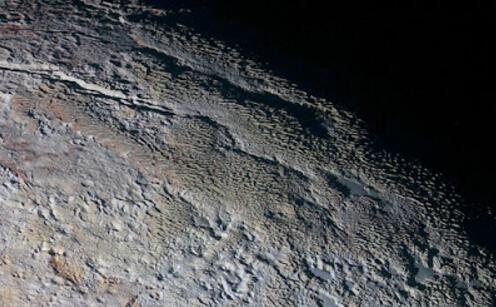 The bladed terrain of Pluto's Tartarus Dorsa region, photographed by NASA's New Horizons spacecraft in July 2015 (Source: NASA).