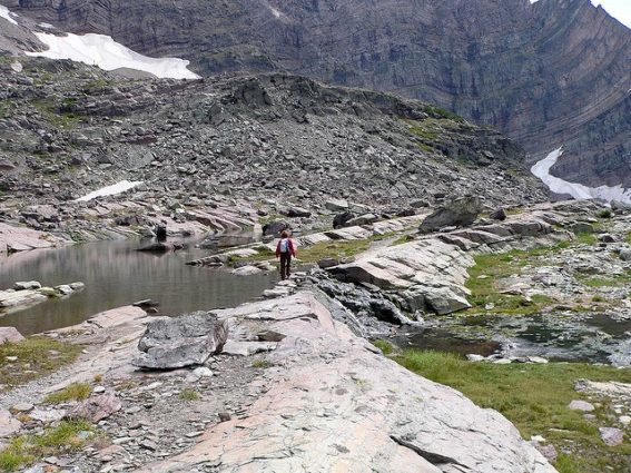 View of a hiker on Sperry Glacier trail (Source: Lee Coursey/Creative Commons)