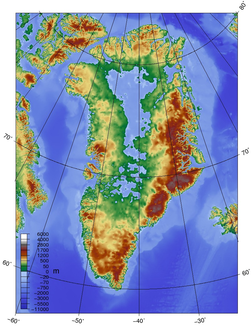 Topographic map of Greenland glacier bedrock (Source: Wikimedia Commons).