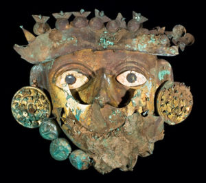 Moche copper funeral mask with shell ornaments from Ucupe, Peru (source: University of North Carolina)